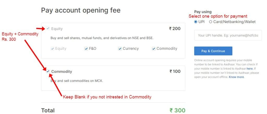 Make a payment for Zerodha Account open